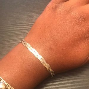 Sterling silver Herringbone braiding bracelet